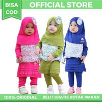 Baju Muslim Anak Perempuan 1-2 Tahun Varian Uliya Legging Set - 1-2 Tahun, Merah Muda