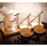 Tempat Bumbu Dapur Set Kayu Kaca Glass Wood Seasoning Condiment Holder
