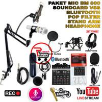 PAKET LENGKAP MIC BM800 CONDENSER RECORDING SOUNDCARD V8S STAND ARM HP - Gold