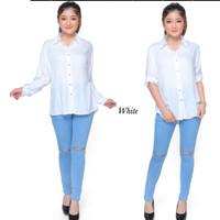 Atasan Kemeja Wanita Rayon Basic Polos Warna Putih Fit To M-L