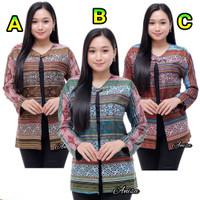 Baju batik atasan wanita blouse bolero kancing motif songket