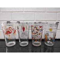 Tumbler Kaca Motif Lifestyle Recipe + Sedotan Glass Ware 450ml H482