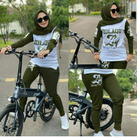 Baju Senam Wanita Setelan Olahraga Muslimah Sporty Muslim - Army