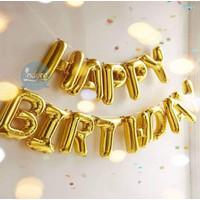 Balon Foil Happy Birthday Set / Balon Happy Birthday Set Gold Paket
