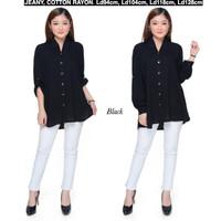 Atasan Kemeja Wanita Rayon Basic Polos Warna Hitam fit to XL