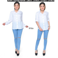 Atasan Kemeja Wanita Rayon Basic Polos Warna Putih fit to XL LD 104 cm