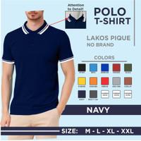 PROMO Kaos polo/lakos polos kombinasi Kerah 2 list pria/wanita - Navy, M