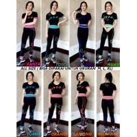 Setelan Baju Senam Pendek+Celana Legging Panjang /Zumba/Aerobic Wanita