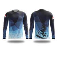 Jersey sepeda / jersey sepeda custom / baju olahraga / RIDE PANJANG - Biru, XS
