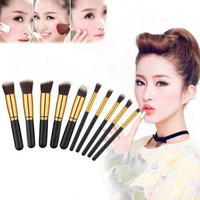 ANGEL C Kabuki Brush Set Kuas Make Up 10 PCS 10pcs MakeUp Brush HITAM