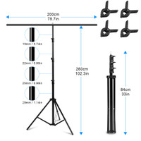 Stand Tiang Background Backdrop Photography T-Shape 200x260cm