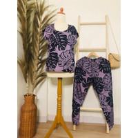 Setelan Piyama Rayon Tangan Pendek Celana Panjang