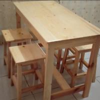 meja makan/meja mie ayam bakso 1set 4bangku kotak