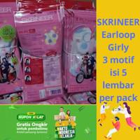 Marker Skrineer Girly Mask 3 ply Earloop isi 5 lembar mix 3 motif/pack