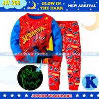 Baju Tidur Piyama Anak Laki JW 209 Glow In the Dark Spidermen Superher