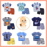LCH - BLUE SERIES Setelan Lengan Pendek Baju Tidur Import Anak Bayi