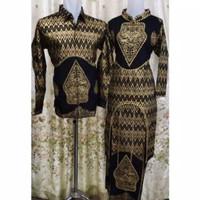 set rok songket kurung batik Palembang hitam