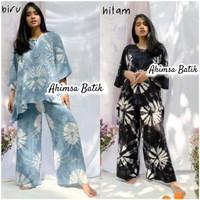 Setelan Baju Celana Blus Sayap Harina Shibori Batik Handmade Cantik