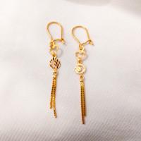 Anting panjang rumbai wanita model love bulat elegant emas asli
