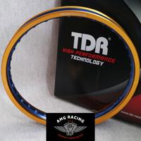 Velg pelek TDR New Wx Shape 2 Tone Ring 17 x 140 Emas Biru Gold Blue