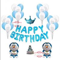 Paket Balon Set Birthday Ulang Tahun Doraemon Biru