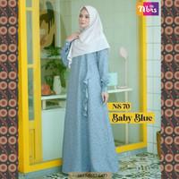 Gamis Nibras Syar'i NS 70 Warna Biru Muda Motif Bunga Baju Pesta Busui