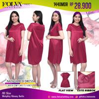 FOLVA daster rumah baju tidur bahan satin 1440MDR merah maron all size