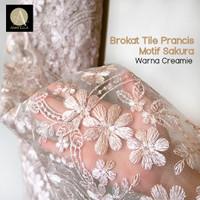 1/2 meter Kain Brokat Tile Prancis Bahan Kebaya Motif Sakura Creamie