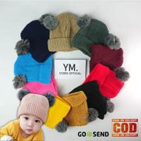 Topi Bayi Kupluk Pompom Topi Anak Rajut