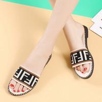 sandal flat wanita fendi import premium