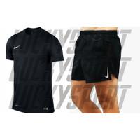 Stelan Jersey Lari Running Futsal Kaos Olahraga sepakbola Joging gym - Hitam