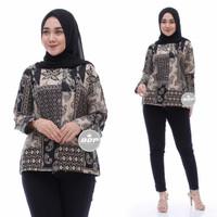 baju wanita blouse batik/baju blouse/baju kantor terbaru terlaris - Hitam, M