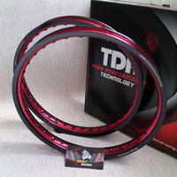 Velg TDR WX Shape Two Tone Set 17 x 140 / 140 Black Red Hitam Merah