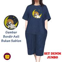 LM 15955 15959 Setelan Pakaian Baju Wanita SET DENIM BIG SIZE JUMBO - Navy, XXL