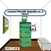 Lemari laci plastik + kaca Napolly susun 4 NEAOT / NEA OT