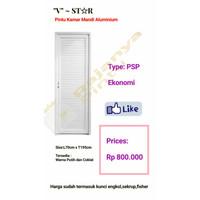 Pintu Kamar Mandi Aluminium V ~ ST☆R PSP Ekonomi - Putih, Engsel kiri
