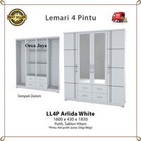 Lemari Pakaian 4 Pintu Minimalis - LL4P Arlida White - Olympic