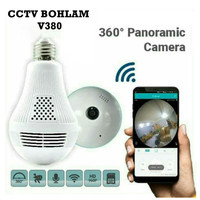 IP Camera CCTV Bulb WiFi Panoramic V380 Lampu Bohlam VR Spy Cam Owlcam