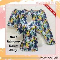 Hoky.Outlet Piyama 3 in 1 Baju Tidur KIMONO Motif Daun /Fit to XL - navy, all size