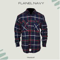 Avtech Flanel Navy / pakaian gunung / flannel / baju hiking / kemeja