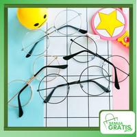 Semua Gratis - Kaca Mata / Kacamata Bulat Fashion Wanita / Kacamata