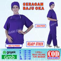 Baju OKA, Baju OK, Seragam Perawat Pria & Wanita Lengan Pendek - Ungu Tua, S