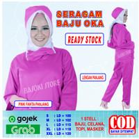 Baju OKA, Baju OK, Seragam Perawat Pria & Wanita Lengan Panjang - Pink Fanta, S