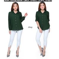Atasan Kemeja Wanita Rayon Basic Polos Warna Hijau Army Fit to XL