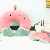 Miniso Fruit Series Eye Mask+U Pillow Bantal Leher