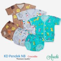 baju harian setelan piyama pendek kancing depan Aruchi NB newborn bayi