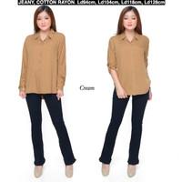 Atasan Kemeja Wanita Rayon Basic Polos Warna Krem / Cream Fit To M - L