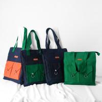 Pamole - Tote Bag Bahan Kanvas Premium Penutup Resleting Full Furing