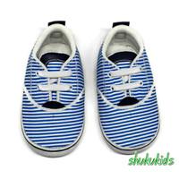Sepatu Bayi prewalker perempuan laki umur 2-15 bulan motif salur biru