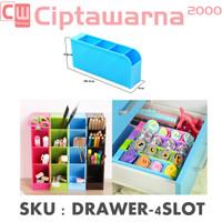 DIY Desktop Drawer Organizer Box Rak Laci Plastik 4 Slot Storage Mini